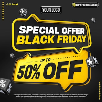 Black friday concept with up to 50 off Premium Psd