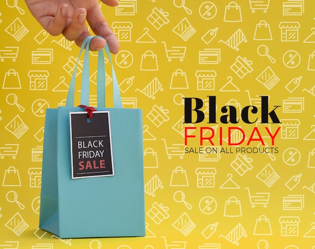Black friday concept on yellow background