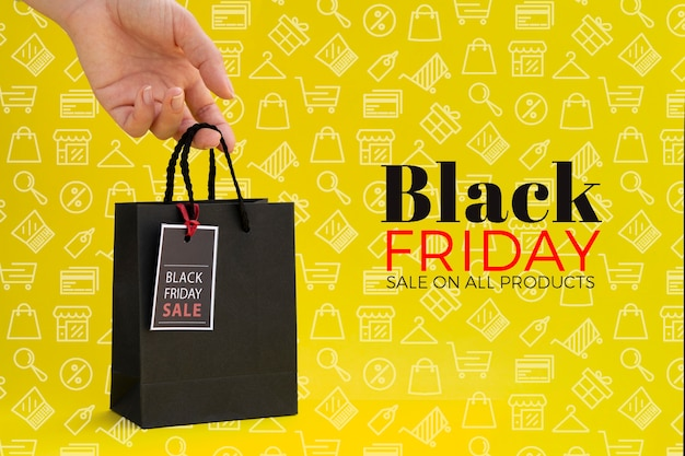 Black friday concept on yellow background Free Psd
