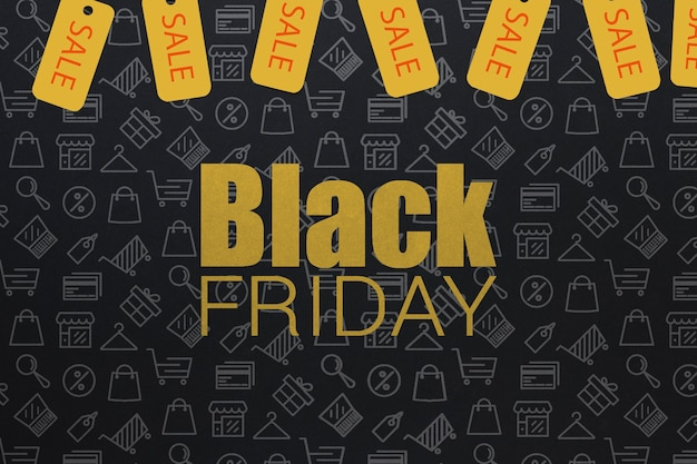 Black friday design with yellow tags