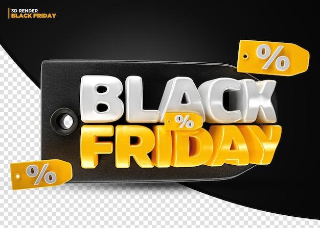 Black friday discount offer label 3d tag render for composition