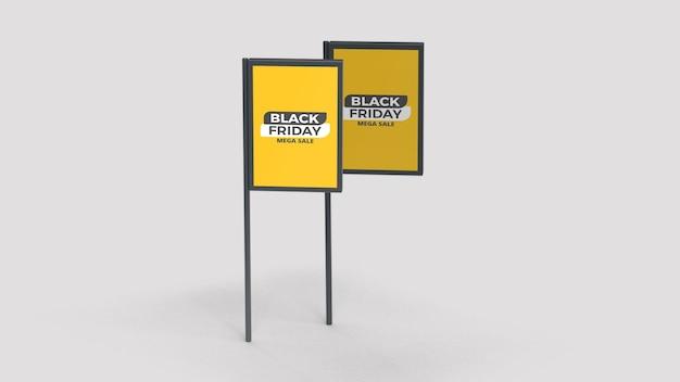 Black friday double street advertising poles mockup