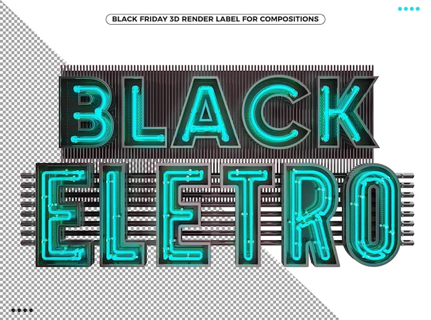 Black friday electronic 3d logo with neon blue for makeup