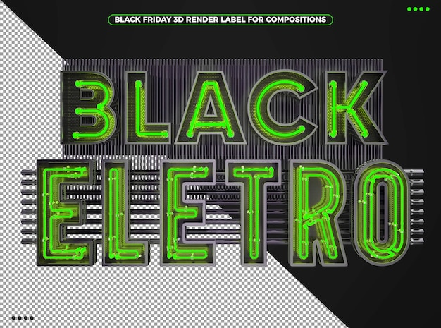 Black friday electronic 3d logo with neon green for makeup