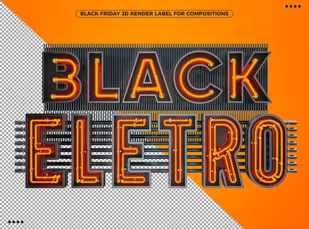 Black friday electronic 3d logo with neon orange for makeup