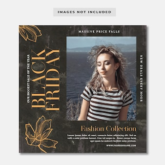 Black friday fashion collection instagram post template