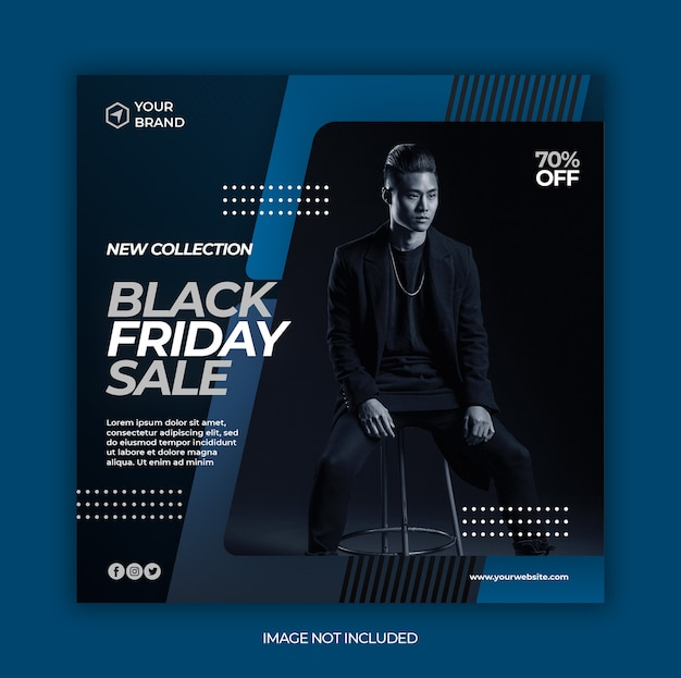 Black friday fashion sale banner or square flyer for social media post template