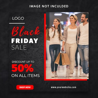 Black friday fashion sale discount social media template