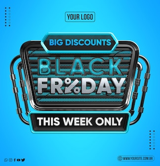 Black friday flat design concept on blue isolated background