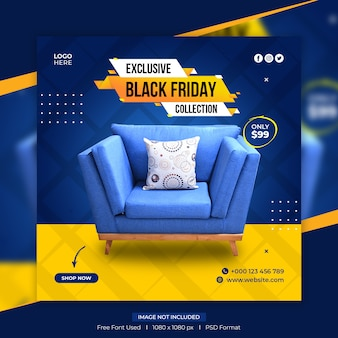 Black friday furniture sale social media post template