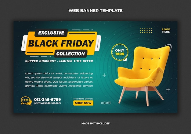 Black friday furniture sale social media post and web banner template