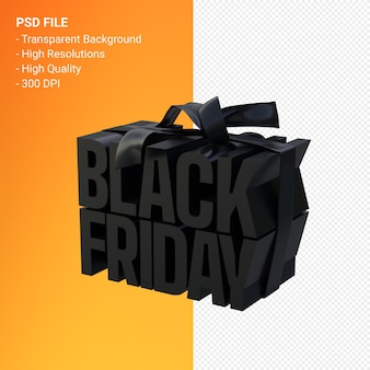 Black friday in gift box wrapped with black ribbon isolated