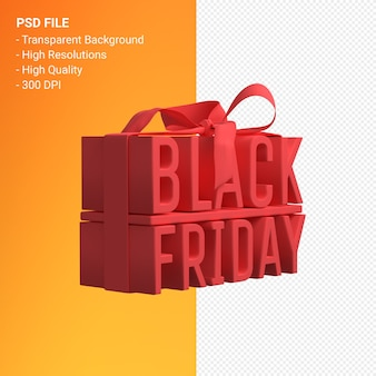 Black friday in gift box wrapped with red ribbon isolated