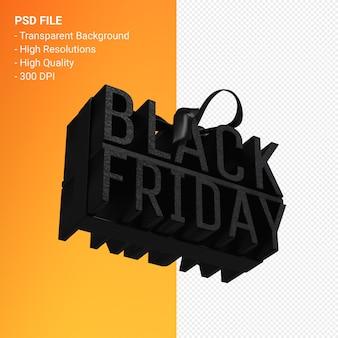 Черная пятница в подарочной коробке, обернутой черной лентой, изолированной