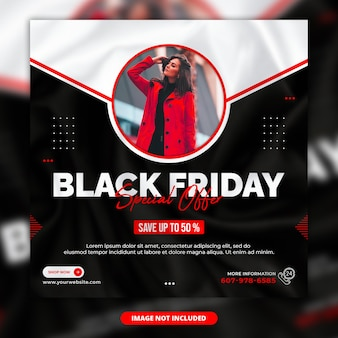 Black friday instagram post or square web banner template