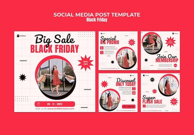 Set di post instagram del black friday