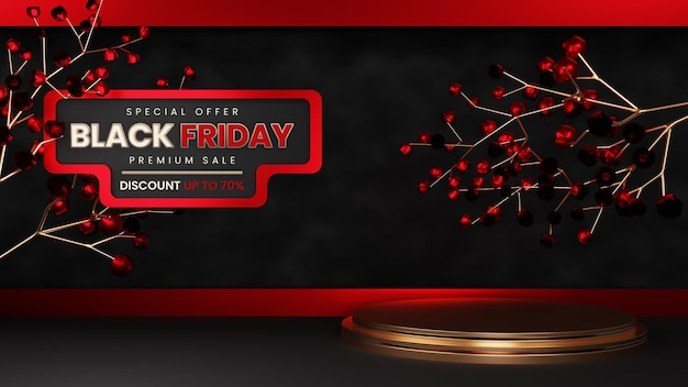 Black friday luxury premium 골드 포디엄 with 장미