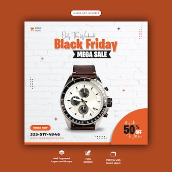 Black friday mega sale social media banner template