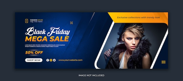 Черная пятница мега распродажа шаблон обложки в социальных сетях facebook