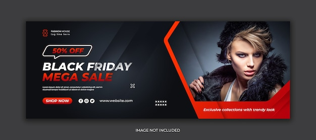Black friday mega sale social media facebook cover template