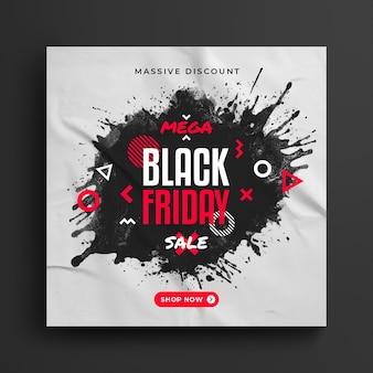 Черная пятница мега распродажа пост в социальных сетях и шаблон веб-баннера