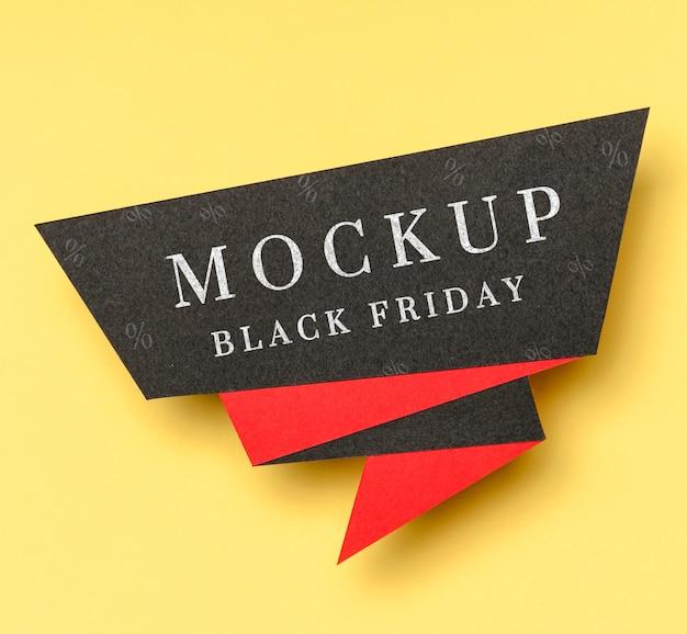 黒の金曜日のモックアップの黒と赤のバナー