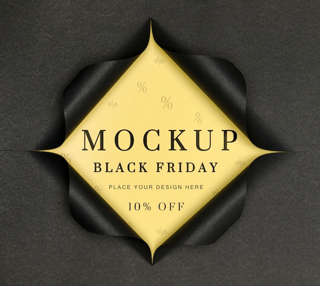 Black friday mock-up torn paper