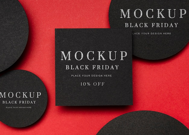 Black friday mock-up with squares and circles