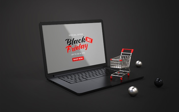 Black friday mockup on laptop with shopping cart