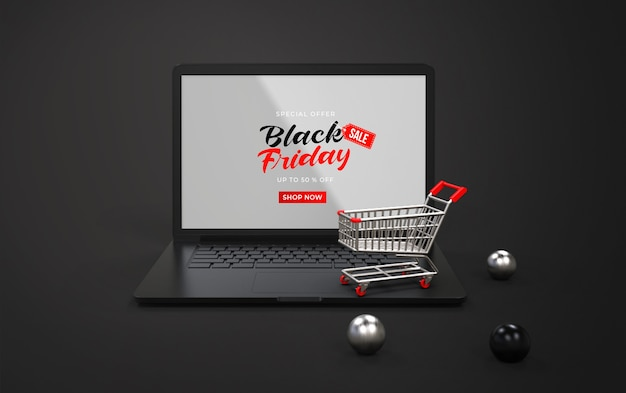 ショッピングカートとラップトップ上の黒い金曜日のモックアップ