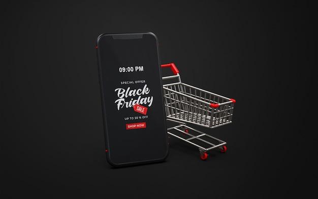 トロリーとスマートフォンで黒い金曜日のモックアップ