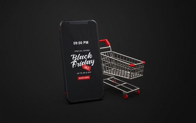 Black friday mockup on smart phone with trolley