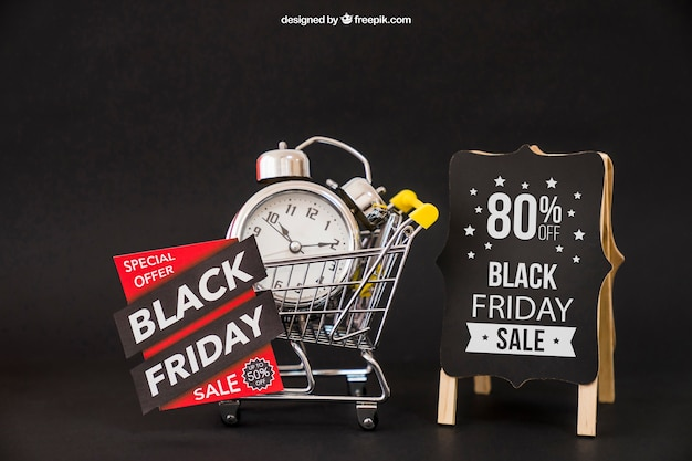 Black friday mockup with alarm clock