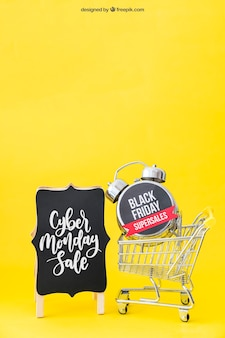 Black friday mockup with alarm in cart