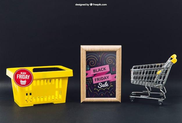 Black friday mockup with basket and frame