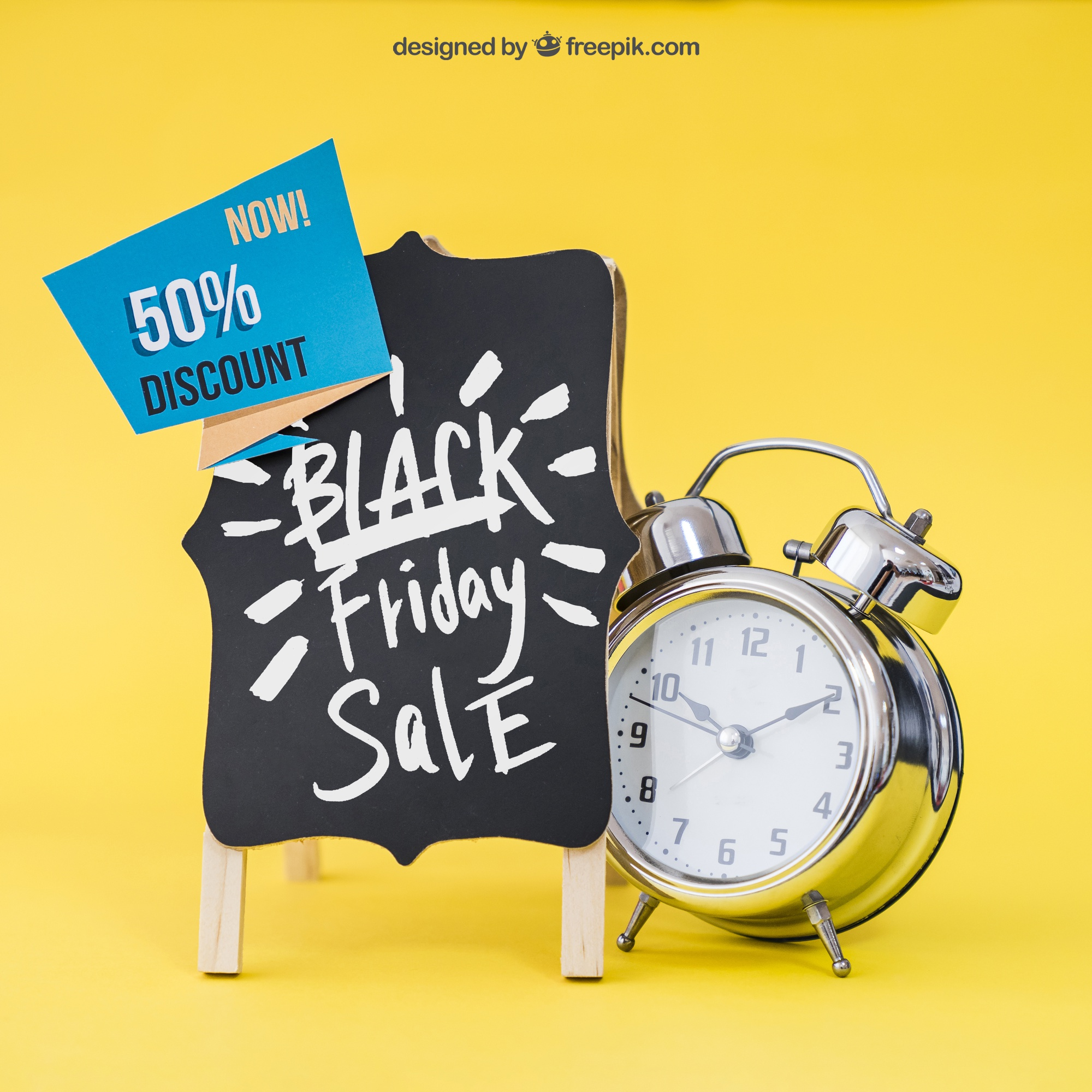Black friday mockup with board and alarm