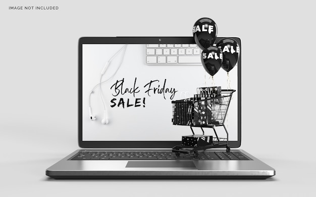 Black friday mockup with laptop