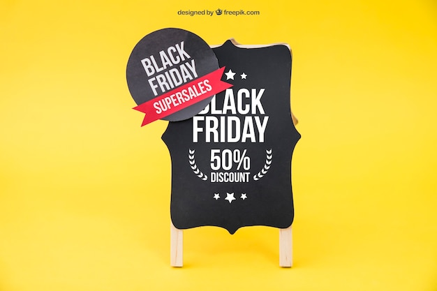 Black friday mockup with round label
