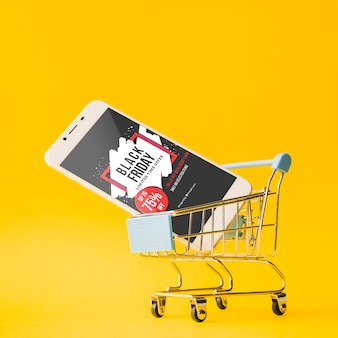 Black friday mockup with smartphone
