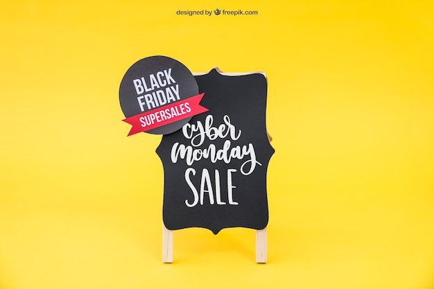 Black friday mockup with sticker on board