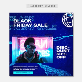 Black friday neon fashion sale square banner instagram post template