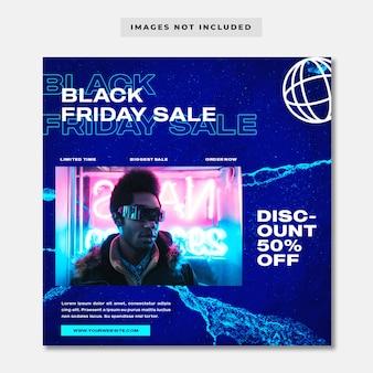 Черная пятница неоновая мода распродажа квадратный баннер instagram шаблон сообщения