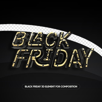 Black friday neon style gold 3d render isolated