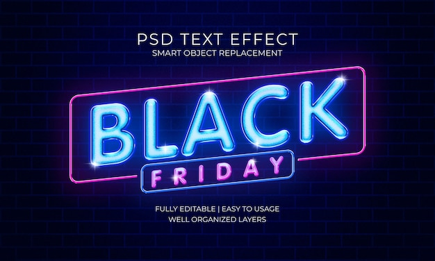 Черная пятница неоновый текстовый эффект шаблон