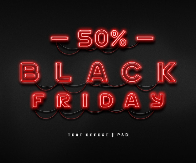 Black friday neon text effect