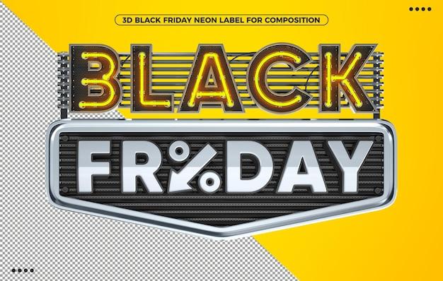 Черная пятница неоновая желтая 3d визуализация этикетки для макияжа