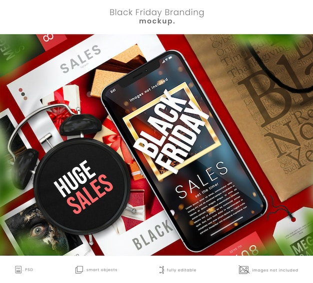 매장 브랜딩을위한 블랙 프라이데이 전화 모형 및 쇼핑백 디자인 모형