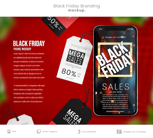 Black friday phone mockup with sales tags with copyspace