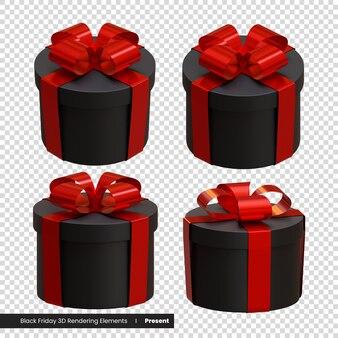 ブラックフライデープレゼント3dレンダリング要素