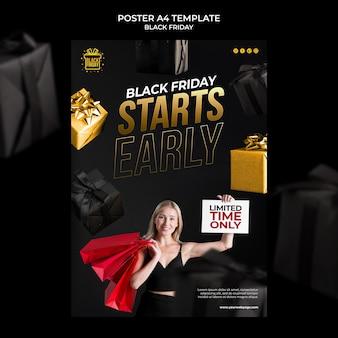Modello di stampa del black friday con dettagli dorati
